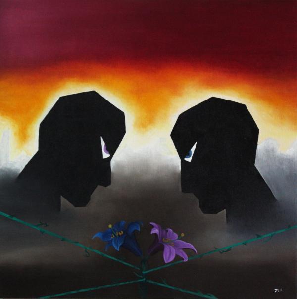 Et l'homme rencontra l'homme. Huile sur toile. 50 x 50. 2009